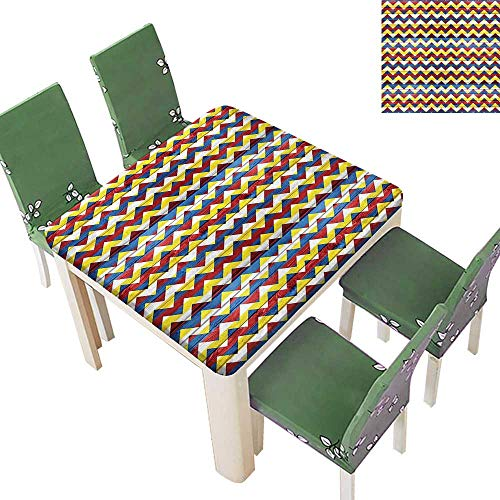 SpillProof Tablecloth Shap in Retro Colors Simple Figur Coat Arms Blue Geen Red for Picnic,Outdoor or Indoor 50 x 50 Inch (Elastic Edge)