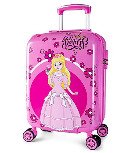 Lttxin Kids' suitcase 18 inch Polycarbonate Carry On Luggage Lovely Hard Shell(upgrade-princess perfect printing) PINK