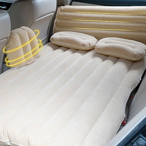 QIHANGCHEPIN Head Protect Car Inflatable Cushion, Deluxe Large Double Air-conditioned Inflatable Bed With Electric Pump and Pillow, Travel Camping Air Bed, Black, 1358835cm (Color : Beige)