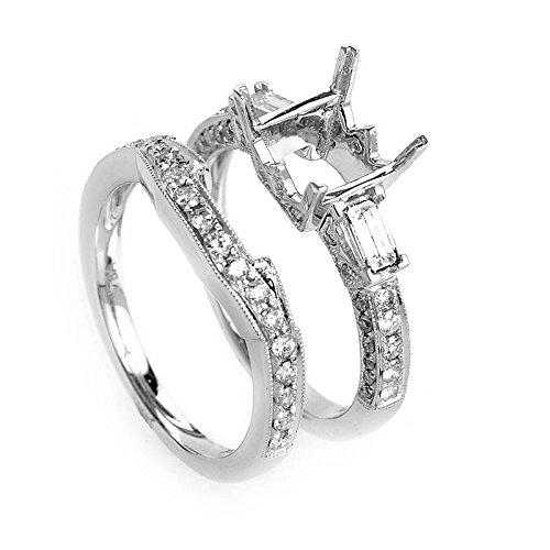Diamond Gold Mounting (Luxury Bazaar Glimmering 18K White Gold Diamond Mounting Set)