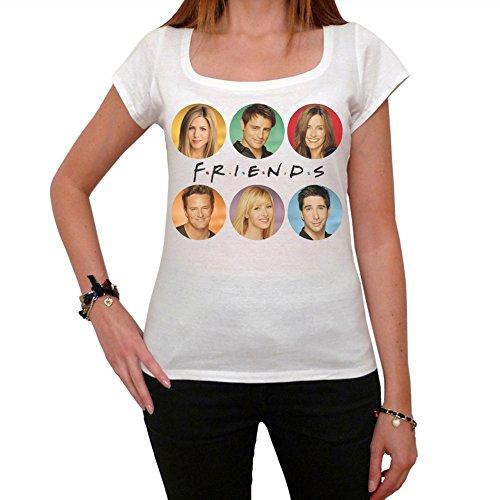 Friends Jennifer Aniston Courteney Cox Matt Leblanc Women's T-shirt picture - White Shirt T Aniston Jennifer