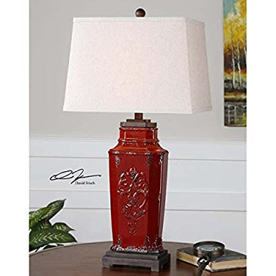 Embossed Red Ceramic Table Lamp French Country