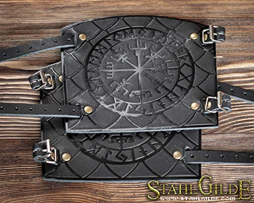Leather Cuff Bracer - Larp Gauntlet - Leather Wristbands - Larp Accessories Viking Bracers - Viking Runic Compass - Length ()