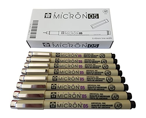 Sakura Pigma Micron pen 05 Black ink marker felt tip pen, Archival pigment ink pens, 0.45mm line-width fine point for artist, technical drawing pens - 8 pack of Micron 05 black