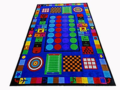 Kids World Carpets Game Time Tufted Nylon Children's Educational and Play Area Rug (5' x 8') - Multi