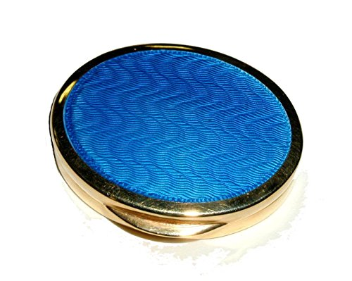 Pill box in sterling silver goldplated with translucent fire enamel on guillochè - Made in Italy by Salimbeni - Collectible