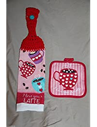 Access 2 piece set - St Valentines Day Latte Cup CROCHET KITCHEN TOWEL & hot pad gift set coffee - free ship USA - light... reviews