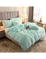 Uhamho Solid Fluffy 1PC Faux Fur Plush Duvet Cover Luxury Shaggy Velvet Bedspread Zipper Closure (Aqua, Queen)