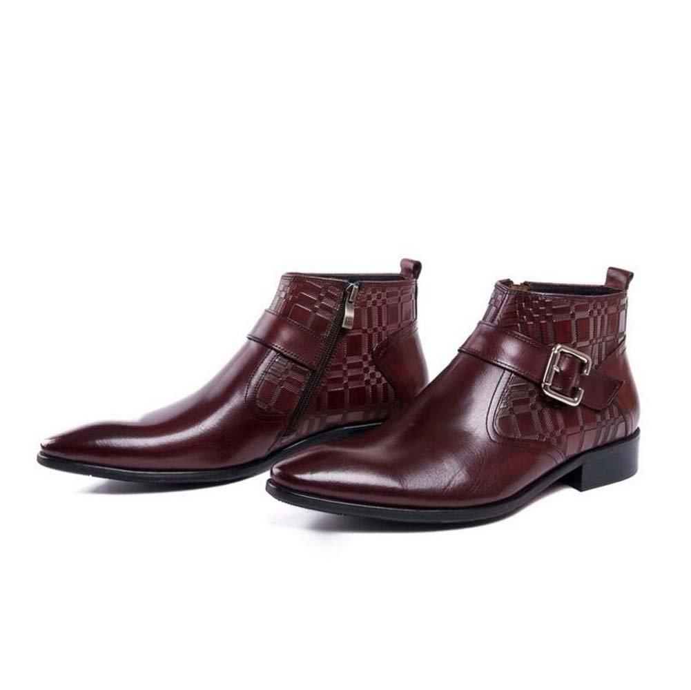GLSHI Herren Geschäft-Stiefeletten Wies europäische Version des Reinen Leders Single Stiefel Lederschuhe