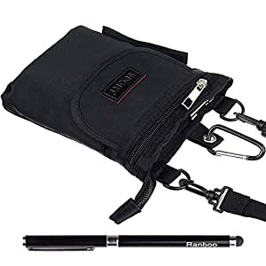 Ranboo Waist Pack for Iphone 5s,6,6 plus,Samsung Galaxy Note3,4, Note Edge,Samsung S5,S4,Nokia Lumia 1520,1020,920,930,830,520, Sony Xperia Z3, Z2, LG G3,G2 Bundled with a 2 in 1 stylus pen(black)
