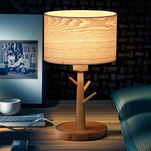 Scandinavian living room bedroom bedside lamp creative minimalist retro table lamps wood veneer lamps-A
