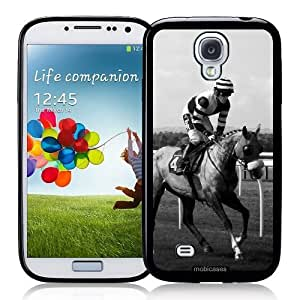 Cool Painting Horse Race Jockey (Black ; White Image) - Protective Designer BLACK Case - Fits Samsung Galaxy S4 i9500