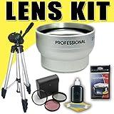2X Telephoto Lens with 3 Piece Filter Kit and Tripod for Samsung HMXH100 HMXH104 HMXH105 HMXH106 Camcorders DavisMAX Accessory Bundle