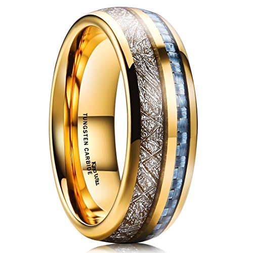 - King Will 7mm Mens Gold Plated Tungsten Carbide Ring Imitated Meteorite Blue Carbon Fiber Inlay Wedding Band 8