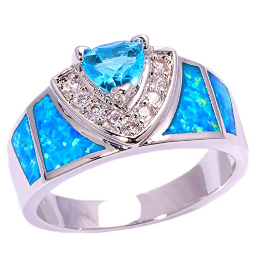 CiNily Blue Fire Opal Aquamarine Rhodium Plated Zircon Women Jewelry Gemstone Ring Size 5-12