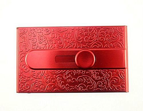 Emboss Aluminum Slide Name Business ID Credit Card Case Holder Pocket (Red)