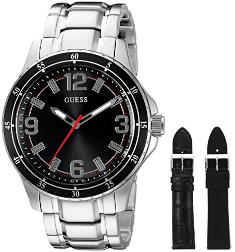 guess-mens-u0724g1-silver-tone-watch-set-with-metal-band-and-2-interchangeable-straps-inside-a-bonus