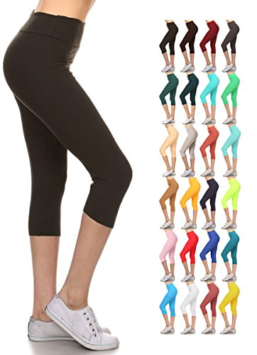 LYCPR128-BLACK3 Yoga Capri Solid Leggings, One Size