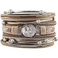 Jeilwiy Leather Wrap Bracelet Braided Cuff Bangle Tube Bracelet Charm Beads Boho Jewelry for Women,Lady,Wife,Teens Girl