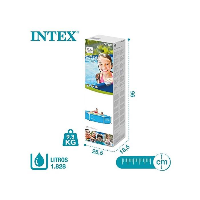 513JEE%2BFKpL Piscina tubular redonda INTEX con medidas Ø244 y 51 cm de altura óptimo para que los niños disfruten de un verano refrescante Material: fabricada con estructura de tubos de acero con protección antióxido y lona PVC triple capa Capacidad: piscina con capacidad para 1.828 litros de agua