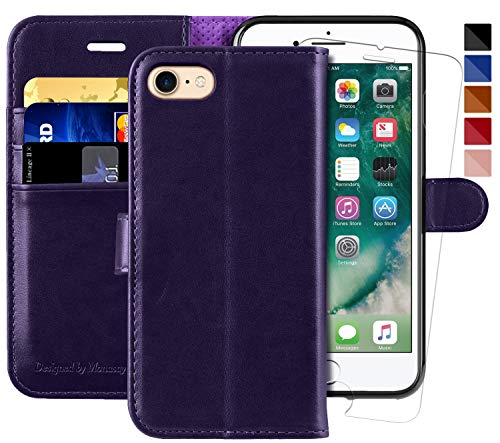 iPhone 7 Wallet Case/iPhone 8 Wallet Case,4.7-inch,MONASAY [Glass Screen Protector Included] Flip Folio Leather Cell Phone Cover with Credit Card Holder for Apple iPhone 7/8 (Purple)