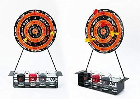 Divertido juego de dardos de mesa para beber, incluye 4 vasos de chupito, 4 dardos magnéticos y 1 tablero de dardos de metal, ideal para cumpleaños, fiestas, regalos y más: Amazon.es: Hogar