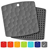 KozyGear 2 sets of 7'' x 7'' Silicone Trivet Mats, Hot Insulation Pads, Hot Pan Pot Holder, Bottle/Jar Opener, Heat Resistant To 442 °F For Oven - Non-Slip, Flexible, Waterproof [Z3 - Series] (GREY)