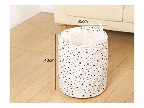 Gelaiken Lightweight Star Pattern Tote Storage Basket Waterproof Storage Bucket Cotton and Linen Storage Box (White) by Gelaiken