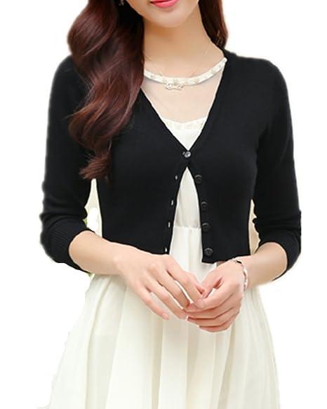 d63414830fecb9 Mullsan Women's Long Sleeve Knit Bolero Shrug Cardigan (Black) at Amazon  Women's Clothing store: