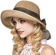 Women Casual Elegant Straw Floppy Wide Brim Sun Hat Bowknot Summber Beach Fedora Sunhat