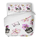 Emvency 3 Piece Duvet Cover Set Brushed Microfiber Fabric Breathable Perfume Watercolor Sketch Flower Fragrance Bottle Black and Pink Floral Bedding Set with 2 Pillow Covers Twin Size