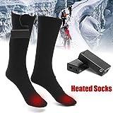 1 Pair Electric Heated Socks Feet Warmer Heater Winter Warm Socks Battery-Powered