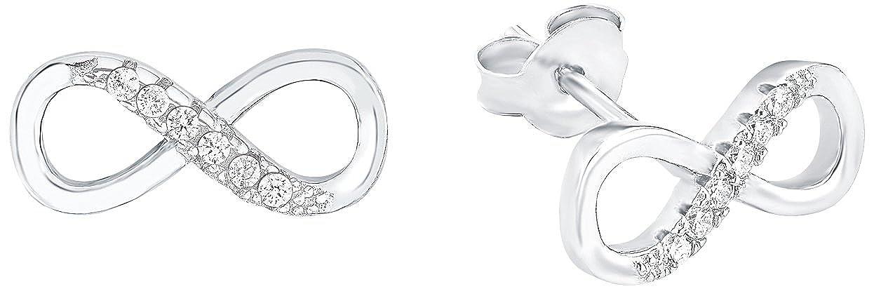 Amor Damen-Ohrstecker 12 mm Infinity Unendlichkeitszeichen 925 Silber  rhodiniert Zirkonia weiß  Amazon.de  Schmuck 1b2111d9bc
