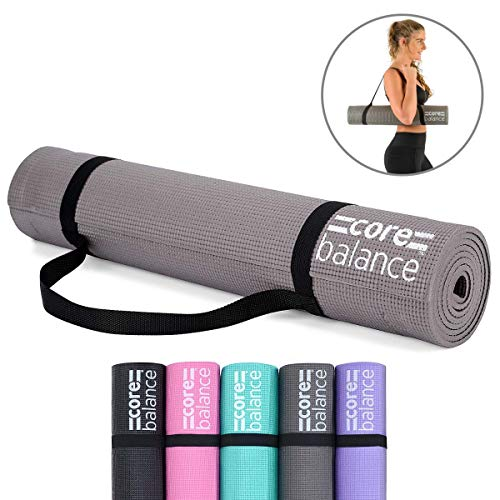 Core Balance Foam Yoga Exercise Mat, Non-Slip, 6mm Thick, Home Gym Workout Pilates, Compact Lightweight With Free Carry Strap