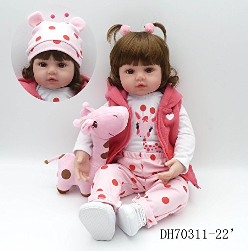 Pinky 24 Inch 61cm Lovely Reborn Baby Girl Doll Reborn Toddler Realistic Looking Lifelike Baby Doll Vinyl Soft Silicone Babies Black Hair Xmas Gift