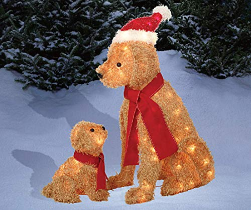 Set of 2 Fuzzy Lighted Dogs Mama & Puppy Display Outdoor Christmas Yard Decoration Holiday Winter Lawn Sculptures