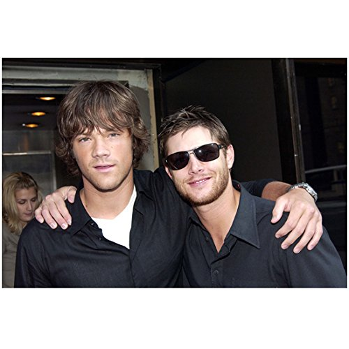 Jensen Ackles 8x10 photo Smallville Supernatural Dark Angel Days of Our Lives Wearing Sunglasses w/Jared Padalecki Both in Black Shirts - Sunglasses Jensen