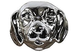 Urban Trends Ceramic Labrador Dog Head, Polished Chrome Silver