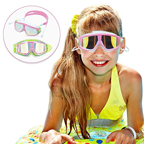Qiandy Kids Swim Goggles, Swimming Goggles, Swimming Glasses with Waterproof Anti-Fog Anti-UV Lens and Soft Silicone Strap for Children and Teenagers from 4 to 15 Year Old (Pink)