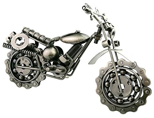 Winterworm Creative Retro Iron Art Motorcycle Model Metal Moto Collection Simple Modern Home Decor Ornaments for Motorcycle Lovers Christmas Birthday Gifts (Silver)
