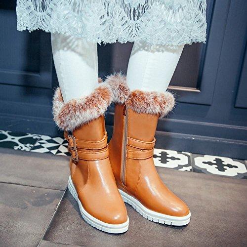 ... Mee Shoes Damen Reißverschluss Noppe Glattleder hidden heels Stiefel  Gelbbraun ...
