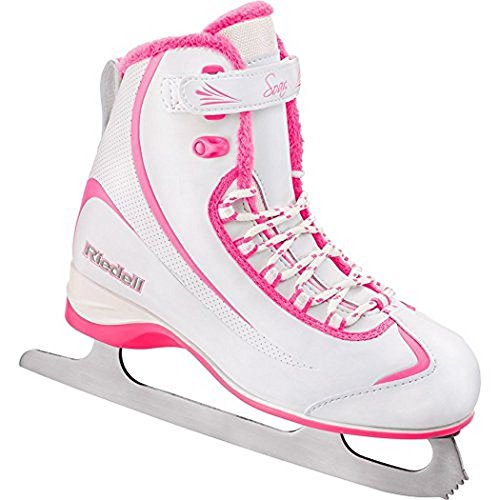 Riedell 615 Soar/Kids Beginner/Soft Figure Ice Skates/Color: White and Pink/Size: 3
