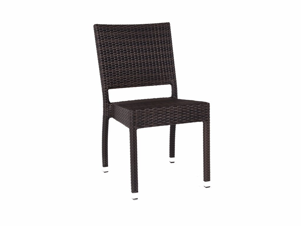 Ascot Stacking Rattan Side Chair - Garden Dining Chair - Outdoor Chairs - Brown and Black Rattan Seat BrackenStyle