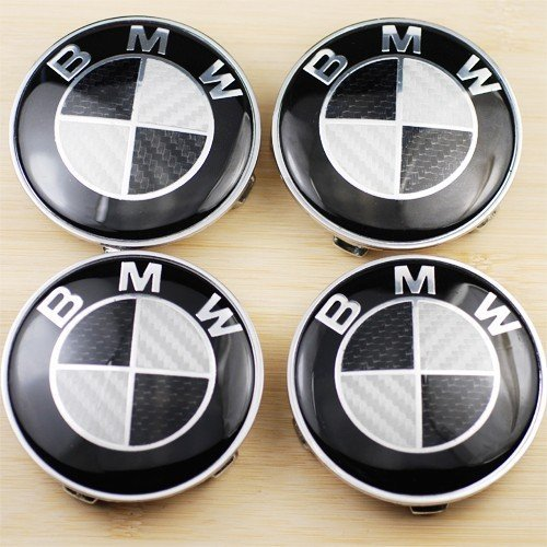 Bmw M3 Carbon Fiber (4 BMW Black CARBON FIBER Wheel Center Caps, Badge, E36 E39 E46 E60 E90 M3 Emblem 68mm)