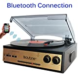 Boytone BT-13G with Bluetooth Connection 3-Speed Stereo Turntable Belt Drive 33/45/78 RPM, 2 built in Speakers AM/FM Stereo Radio, 3.5mm Headphone Jack/Auxiliary, RCA Jack 45 RPM Adapter Included Gold