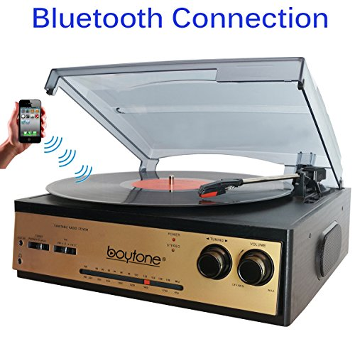 Boytone BT-13G with Bluetooth Connection 3-Speed Stereo Turntable Belt Drive 33/45/78 RPM