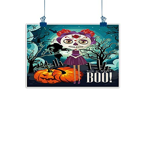 Sunset glow Canvas Prints Wall Decor Art Halloween,Cartoon Girl with Sugar Skull Makeup Retro Seasonal Artwork Swirled Trees Boo,Multicolor Home Decorations Modern Stretched and Artwork 24