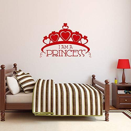Etiqueta de la pared del texto de la corona grande Soy princesa etiqueta de la pared del vinilo hogar niña decoración de la habitación mural en forma de corazón princesa corona apliques