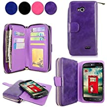 LG L90 Case - Cellularvilla Pu Leather Wallet Flip Bag Pouch Card Slots Holder Pockets & Other Stuff with Magnetic Detachable back Case Cover for LG Optimus L90 Dual D405 D410 T-mobile (Purple)