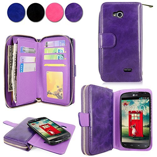 LG L90 Case - Cellularvilla Pu Leather Wallet Flip Bag Pouch Card Slots Holder Pockets & Other Stuff with Magnetic Detachable back Case Cover for LG Optimus L90 Dual D405 D410 T-mobile (Purple) (Lg L90 Phone Cover T Mobile)